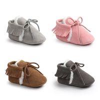 Wholesale Toddler Winter Cotton Padded Shoes - Baby Cotton-padded Shoes Frosted Tassels Infant Anti-slip Soft Sole Winter Infant Toddler Walking Shoes Prewalkers 0-18M