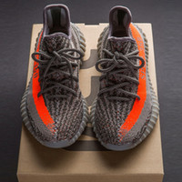 Wholesale Shoes Stripes - 2017 SPLY-350 Boost V2 2016 New Kanye West Boost 350 V2 SPLY Running Shoes Grey Orange Stripes Zebra Bred Black Red 10 Color