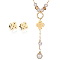 Wholesale Cz Bead 18k Gold Necklace - New Accessories Bead Necklace And Earring Set 18K Gold Stainless Steel CZ Stone Girl Party Pearl Jewelry Set Wholesale