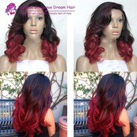 Wholesale 2017 Hot Selling Wigs Brazilian Human Hair Glueless Red Ombre Front Lace Wig Ombre Full Lace Wig With baby Hair Large Stock