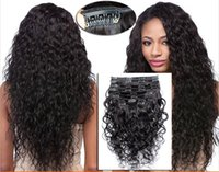 Wholesale Off Virgin Hair - 7A 1B# off black Clip In Human Hair Extesnison 70g 100g 140g 160g 180g 7 8 10pcs Virgin Brazilian water curly wave Clip In Hair Extensions