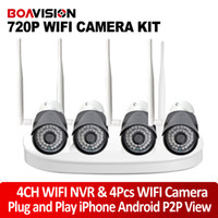 Wholesale Waterproof Wireless Surveillance Camera - 4Ch Wifi IP Camera NVR Kit With 4Pcs 720P Wireless IP Camera Outdoor Waterproof Night Vision Plug and Play Security Surveillance System P2P