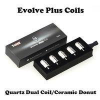 Wholesale faster pack - Ceramic Donut Coils Quartz Dual Coils E Cigarettes Replacement Coils For Yocan Evolve Plus Kit 5pcs pack 100% Original Fast Shipping