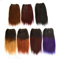 Wholesale Short Straight Hair Extensions - New Arrival 100% Brazilian Human Hair Wefts 8Inch Ombre Color Straight Short Hair Extension 2pcs lot 50g pc