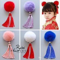 Wholesale Girls Purposes - 2017 New The wind China Vintage cheongsam rabbit hair ball children's tassels Girls Hair Pin Brooch dual purpose Children Hair Accessor