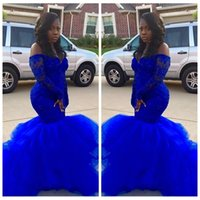 Custom Beading Sequins Slim Royal Blue Lace Mermaid Evening Dresses 2017 Plus Size Formal Prom Gowns Cheap Prom Party Dress