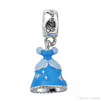 Wholesale Princess Sterling Silver Pendant - Wholesale Fashion Princess Dress Pendant Charm 925 Sterling Silver European Charms Bead Fit Pandora Snake Chain Bracelet DIY Jewelry