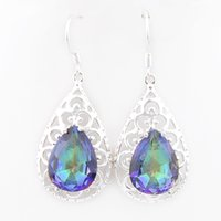 Wholesale Earrings Colorful Stones - 6 Pairs Luckyshine Drop colorful stone Gems 925 Sterling Silver Plated Drop Fan Earrings Russia American Australia Earrings Jewelry
