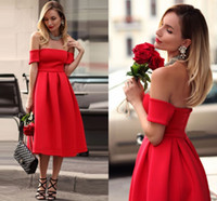 Wholesale Sexy Gorgeous Evening Dress Cheap - Gorgeous Red Homecoming Dresses 2017 Off Shoulder Satin Short Party Dresses Tea Length Backless Graduation Prom Evening Dresses Cheap