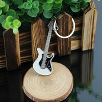 Wholesale Antique Small Key - Wholesale-New Arrival Small Cute Hot Guitar Keychain Buckle Fashion Jewelry Key Chains Ring
