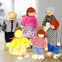 Wholesale Mini Kid Girl Dresses - Mini Wooden Toy Dollhouse Family Member Dolls Set Figures Dressed Characters Children Kids Girl Playing Doll Kawaii