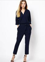 Wholesale Sale Chiffon Black Jumpsuit - hot sale women v neck jumpsuit full length jumpsuit show half sleeve XL size loose women romper blue black plus size rompers