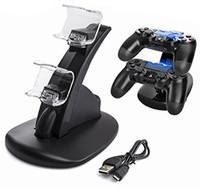 rıhtım ışıkları toptan satış-Çift USB Şarj Şarj Docking İstasyonu Standı Çift Şarj Sony Playstation 4 PS4 PS4 Pro PS4 için LED Işık Ince kablosuz denetleyici
