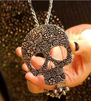 Wholesale Skeleton Necklace Bronze - Fashion punk vintage bronze decorative pattern large-panel sugar skull pendant necklace long chain necklace for woman and man