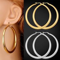 pendientes de mujer de oro real al por mayor-U7 grandes pendientes de acero inoxidable de moda / 18K oro real de la joyería de moda ronda de tamaño grande pendientes de aro para las mujeres