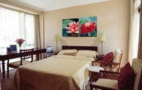Wholesale lily flower wall canvas - Giclee Print Canvas Wall Art Water Lily Flower Contemporary Floral Painting Home Decor Set20014