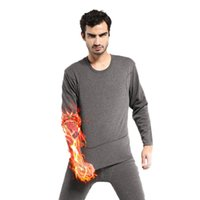 Wholesale Nylon Long Johns - Wholesale-X52 Mens Winter Warm Soft Fleece Inner Wear Thermal Long Johns Pajamas Set Sleepwear