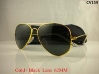 Wholesale Womans Frame Glasses - High Quality Mens Womans Glasses Gold Frame Black Glass Lens 58mm 62mm Size Designer Sport Sunglasses come boxes