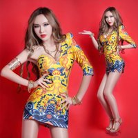 Wholesale Jazz Singer Women - 2016 Chinese Style Retro Palace Clouds Dragon Dress One-piece Garment HIP-HOP Jazz Dancer Party DS Female Singer Nightclub Stage Wear #8175