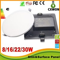 Wholesale Led Ceiling Panel 22w - New Narrow Edge Led Panel Square Round 8W 16W 22W 30W Led Lights Panel Ceiling Lights SMD4014 High Brightness AC85-265V