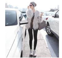 calentador de cuello de piel negro al por mayor-Abrigo de piel sintética negro blanco de las mujeres Elegante Polo de manga larga chaqueta de bombardero de las mujeres Abrigo de guisante cálido S-2XL