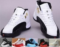 Wholesale Cheap 11 Boots - 2016 Cheap top Quality Retro 12s man Basketball Shoes ovo white TAXI Flu game French Blue gamma blue Playoff sneaker Boots 6-8-9-10-11-13