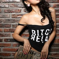 Wholesale Low Cut Club Tops - Wholesale- Black Sexy Letter Print BITCH RELAX Tank Tops Low-Cut Sleeveless Singlet Vest Casual T-shirt Dance Fitness Club Camisole