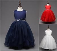 бисероплетение свадебное платье принцессы оптовых-XCR43 Евро Fashion Girl Формальное платье наряд с бисером принцесса Туту платье Girl Party Элегантное платье бальное платье свадебное платье