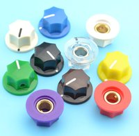 Wholesale Skirted Knob - Wholesale-6pcs Guitar effect pedal AMPS jazz bass Skirted Plactic Control Knob 6.35mm