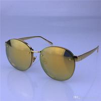 Wholesale Linda Farrow - new linda farrow sunglasses titanium frame with coating mirror lens women brand designer sunglasses vintage round frame top quality