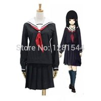 Wholesale Hell Girl Ai Cosplay - Free shipping Anime Hell Girl Enma Ai School Uniforms Cosplay Costume