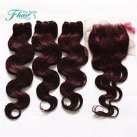 Wholesale 99j Human Hair Wavy - 99J Body Wave Hair With 4X4 Lace Closure Burgundy Peruvian Human Hair Bundles With Top Closure Wine Red Wavy Hair