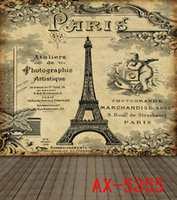 Wholesale Eiffel Tower Backgrounds - Retro Paris Eiffel Tower Wood Floor Printed Wedding Indoor Photo Stdio Gallery Backdrops Lighting Vinyl 5X7ft Background
