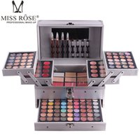 Wholesale Makeup Artist Box - Miss Rose professional makeup set box in Aluminum three layers include glitter eyeshadow lip gloss blush for makeup artist
