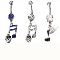 Wholesale Music Belly Button Rings - 2016 wholesale fashion Music Note Dangle Belly Button Ring 14G (1.6mm) Belly Ring body piercing jewelry