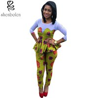 Wholesale Knit Jumpsuits For Women - Wholesale- 2016 summer African clothing for women ankara Knitting stitching Batik printing fashion long sleeve jumpsuits free shipping