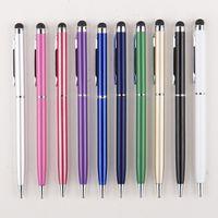 multa da caneta do ipad venda por atacado-10 Cores 2 em 1 pontos finos da caneta stylus toque a caneta de toque capacitivo caneta de microfibra para ipad iPhone android tablets