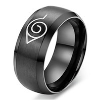 Wholesale Male Ring Black Titanium - Black anime naruto male ring high quality titanium steel rings jewelry drop shipping