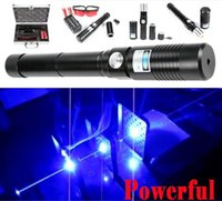 Wholesale The Most Strong Black nm Blue Laser Pointer Visible Beam Burn Wood Light CIgarette use Battery no include Charger Box