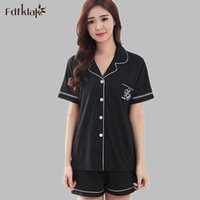 Wholesale Colthes Woman - Wholesale- High Quality Women's Pajamas Summer Cotton Pajama Whole Woman Pyjamas Sleepwear Sets Pijamas De Mujer Home Colthes E0062