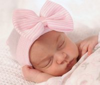 Wholesale baby hair beanie online - Fashion Newborn Knit Beanie Hats Baby Unisex Big Bows Caps Toddler Kid Cotton Crochet Wraps Infant Unisex Hair Accessories