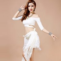 Wholesale Green Sequin Dance Costumes - Professional Belly Dance Costume Set Red Green White Dance Belly Dress Sexy Women Lady Dance Wear Stage Wear Practice Dress