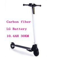 Wholesale Battery Kick - LG Battery 10.4AH 30KM Lightest Carbon Fiber Folding Two Wheel Electric Scooter Skateboard Bike Steering-wheel Kick Scooter Adult Hoverboard