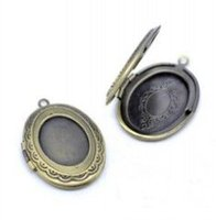 South American oval copper tray - 30pcs ANTIQUE BRONZE plated oval Photo Locket Pendant Jewelry with Inner m Tray for Cabochons Settings for Jewelry Making