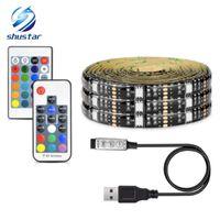12v dc şerit ışıkları toptan satış-5050 DC 5 V RGB LED Şerit Su Geçirmez 30LED / M USB LED Işık Şeritleri Esnek Neon Bant 1 M 2 M 3 M 4 M 5 M TV Arka Plan Için Uzaktan ekle