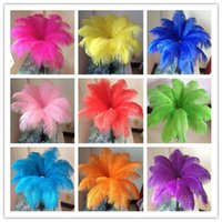 Wholesale Turquoise Purple Decorations - wholesale 100pcs lot 12-14inch Ostrich Feather Plume Royal bule,Turquoise,Hot Pink,Yellow,Purple,White For wedding centerpiece