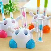 Wholesale Robot Ornaments - Wholesale- Mini plastic children brushing hourglass ornaments holder toothbrush 3 minutes countdown timer bathroom Robot cartoon