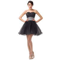 Wholesale Cheap Purple Corset Mini Dresses - 2016 Cute Little Black Beaded Tulle Short Homecoming Prom Dresses with Lace up Cheap Sweetheart Ruched Tulle Corset Party Gowns under 100