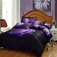 Wholesale Egyptian Cotton Bedding Sets Purple - 2016 New Arrival 5D Oil Painting Purple Rose Printed Queen Size 100% Egyptian Cotton Bedding Set Duvet Cover Set