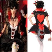 vestidos de tutu sexy vermelho venda por atacado-Rainha de Poker Fantasia de Corações Vermelhos Trajes Cosplay Trajes de Halloween Carnaval Partido Vestuário Mulheres Sexy Vestido de Tutu Mágico